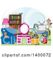 Clipart Of A Yard Sale Scene Royalty Free Vector Illustration by Maria Bell