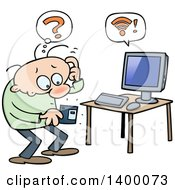 Clipart of a Cartoon White Man Wondering What a Floppy Disk Is for - Royalty Free Vector Illustration by gnurf #COLLC1400073-0050