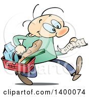 Clipart Of A Cartoon White Man Carrying A Basket And Reading A Grocery Shopping List Royalty Free Vector Illustration