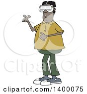 Clipart Of A Cartoon Black Man Wearing Virtual Reality Glasses Royalty Free Vector Illustration by djart