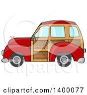 Clipart Of A Red Woodie Station Wagon Car Royalty Free Vector Illustration