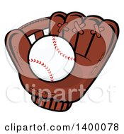 Clipart Of A Baseball In A Glove Royalty Free Vector Illustration by Hit Toon
