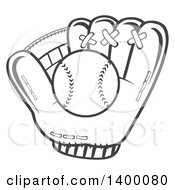 Clipart Of A Grayscale Baseball In A Glove Royalty Free Vector Illustration