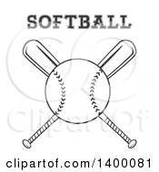 Clipart Of A Grayscale Baseball Over Crossed Baseball Bats With Text Royalty Free Vector Illustration by Hit Toon
