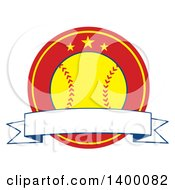 Clipart Of A Blank Ribbon Banner Over A Softball In A Red Circle With Stars Royalty Free Vector Illustration