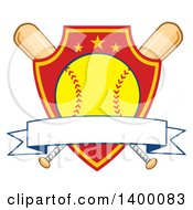 Clipart Of A Blank Ribbon Banner Over A Softball In A Shield And Crossed Baseball Bats Royalty Free Vector Illustration