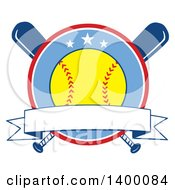 Clipart Of A Blank Ribbon Banner And Softball In A Circle Over Crossed Baseball Bats Royalty Free Vector Illustration
