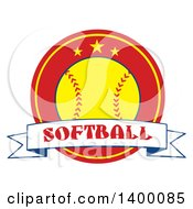 Clipart Of A Text Ribbon Banner Over A Softball In A Red Circle With Stars Royalty Free Vector Illustration