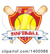 Clipart Of A Text Ribbon Banner Over A Softball In A Shield And Crossed Baseball Bats Royalty Free Vector Illustration by Hit Toon