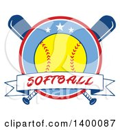 Poster, Art Print Of Text Ribbon Banner And Softball In A Circle Over Crossed Baseball Bats