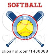 Clipart Of A Softball In A Circle Over Crossed Baseball Bats Under Text Royalty Free Vector Illustration by Hit Toon
