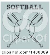 Clipart Of A Softball Over Crossed Baseball Bats With Text On Halftone Royalty Free Vector Illustration