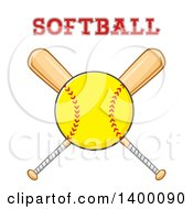 Clipart Of A Softball Over Crossed Baseball Bats With Text Royalty Free Vector Illustration by Hit Toon