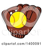 Clipart Of A Softball In A Glove Royalty Free Vector Illustration by Hit Toon