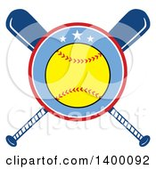 Clipart Of A Softball In A Circle Over Crossed Baseball Bats Royalty Free Vector Illustration by Hit Toon