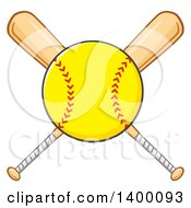 Clipart Of A Softball Over Crossed Baseball Bats Royalty Free Vector Illustration