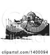 Clipart Of A Black And White Woodcut Group Of Marching People With Spears And Flags In Front Of A Mosque Royalty Free Vector Illustration by xunantunich