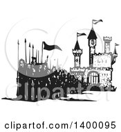Clipart Of A Black And White Woodcut Group Of Marching People With Spears And Flags In Front Of A Castle Royalty Free Vector Illustration by xunantunich