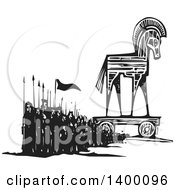 Black And White Woodcut Group Of Marching People With Spears And Flags By A Trojan Horse