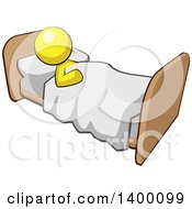 Clipart Of A Cartoon Yellow Man Sleeping In A Bed Royalty Free Vector Illustration