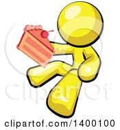 Clipart Of A Cartoon Yellow Man Holding A Piece Of Cake Royalty Free Vector Illustration