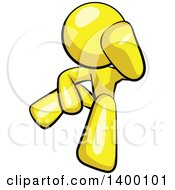 Clipart Of A Cartoon Depressed Yellow Man Leaning His Head On His Hand And Sitting On The Floor Royalty Free Vector Illustration