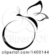 Clipart Of A Black And White Butterfly And Circle Label Royalty Free Vector Illustration
