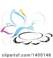 Clipart Of A Gradient Colorful Butterfly On A Flower Royalty Free Vector Illustration