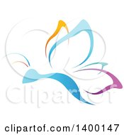 Clipart Of A Gradient Colorful Butterfly Royalty Free Vector Illustration