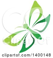 Clipart Of A Gradient Green Butterfly Royalty Free Vector Illustration