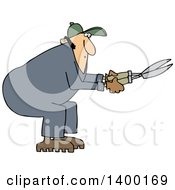 Cartoon Clipart Of A Chubby Caucasian Male Landscaper Or Gardener Using Hedge Trimmers Royalty Free Vector Illustration