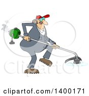 Cartoon Clipart Of A Chubby White Male Landscaper Or Gardener Using A Weed Wacker Royalty Free Vector Illustration