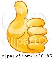 Clipart Of A Gold Smiley Emoji Hand Holding A Thumb Up Royalty Free Vector Illustration