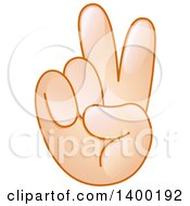 Clipart Of A Caucasian Smiley Emoji Hand In A Victory Or Peace Gesture Royalty Free Vector Illustration