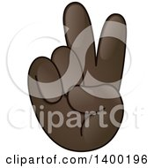 Clipart Of A Smiley Emoji Hand In A Victory Or Peace Gesture Royalty Free Vector Illustration