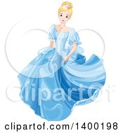 Worried Blond Caucasian Princess Cinderella In A Blue Dress