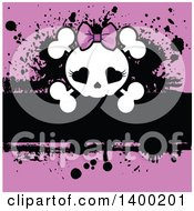 Poster, Art Print Of Girly Skull With Heart Eyes And A Bow Over Pink And Black Grunge