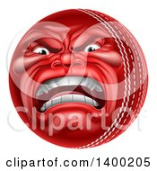 Clipart Of A 3d Furious Cricket Ball Mascot Character Royalty Free Vector Illustration