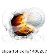 3d Flying And Blazing Golf Ball Breaking Through A Hole In A Wall
