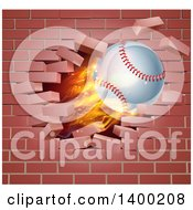 Poster, Art Print Of 3d Flying And Blazing Baseball With A Trail Of Flames Breaking Through A Brick Wall