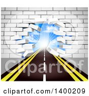 Clipart Of A Road Leading Through A Hole In A 3d White Brick Wall Royalty Free Vector Illustration