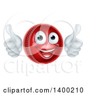 Clipart Of A 3d Happy Cricket Ball Mascot Character Giving Two Thumbs Up Royalty Free Vector Illustration by AtStockIllustration