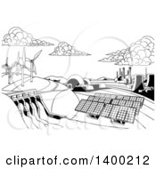 Clipart Of A Black And White Landscape Of Renewable Energy Plants With A Dam Solar Panels Wind Turbines Coal Plants And Nuclear Plants Royalty Free Vector Illustration by AtStockIllustration