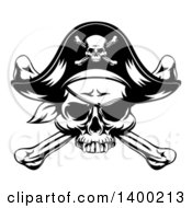 Clipart Of A Black And White Skull Wearing An Eye Patch And Pirate Hat Over Crossbones Royalty Free Vector Illustration by AtStockIllustration