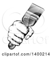 Clipart Of A Retro Black And White Woodcut Fisted Hand Holding Up A Paintbrush Royalty Free Vector Illustration by AtStockIllustration