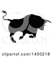 Clipart Of A Silhouetted Black Bull Charging Royalty Free Vector Illustration