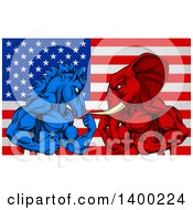 Muscular Political Aggressive Democratic Donkey Or Horse And Republican Elephant Battling Over An American Flag