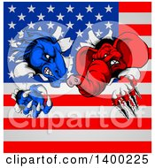 Fierce Political Aggressive Democratic Donkey Or Horse And Republican Elephant Shredding Through An American Flag
