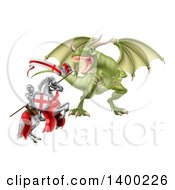 Medieval Knight Saint George On A Rearing White Horse Fighting A Dragon