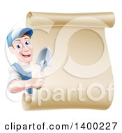 Clipart Of A Happy Middle Aged Brunette White Male Gardener In Blue Holding A Hand Spade Shovel Around A Blank Scroll Sign Royalty Free Vector Illustration